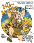 Let's go a-viking! Cartoon of Viking carrying off a girl who is asking him 'hvat's in yur vallet?' 'what's in your wallet?' as a town burns behind them.