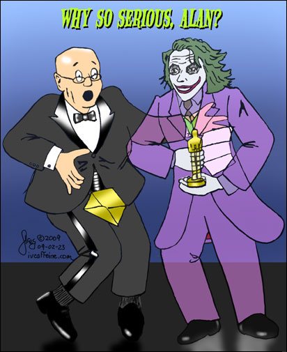 Cartoon of Heath Ledger's ghost who shocks Alan Arkin at the Academy Awards by showing up himself to receive the Oscar for his portrayal of the Joker in Dark Knight, asking 'why so serious, Alan?'