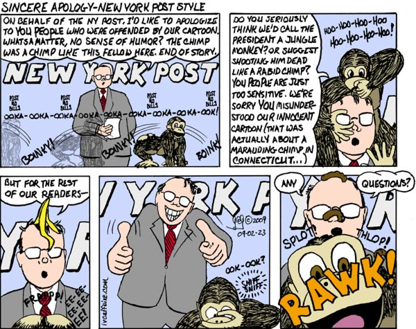 Cartoon strip of a spokesperson for the NY Post issuing a non-apology for their chimpanzee cartoon while being subjected to indignities by a real chimpanzee.