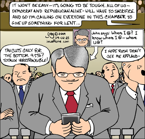Cartoon of Republicans too busy tweeting on Twitter to actually listen to Obama's first State of the Union addresses and send snarky messages via their blackberries.
