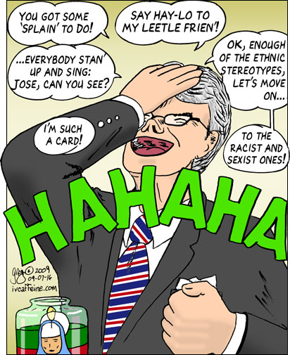 Tom Coburn tries out a number of ethnic references and cracks himself up.