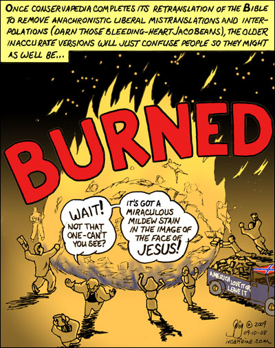 While burning old inaccurate LIBERAL Bibles, a preacher stops a man from burning one because it has a mildew stain in the image of Jesus Christ.