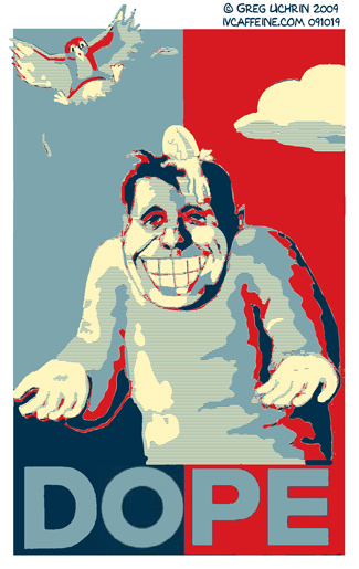 Caricature of Shepard Fairey in the style of his Obama HOPE Poster