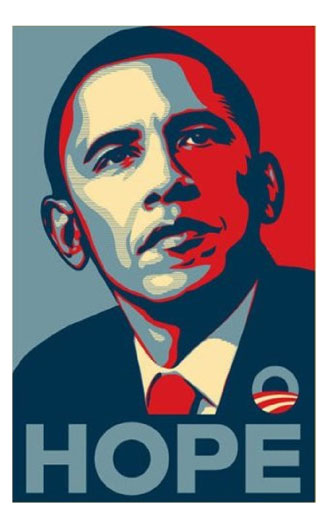The Celebrated AP-Disputed Obama HOPE Poster by Shepard Fairey