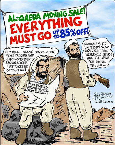 The last two al-Qaeda in Afghanistan, Bilal and Yussuf, discuss Obama's Afghan strategy and how they'd be happy to leave for $10 billion dollars and we wouldn't even have to send in 30000 troops.