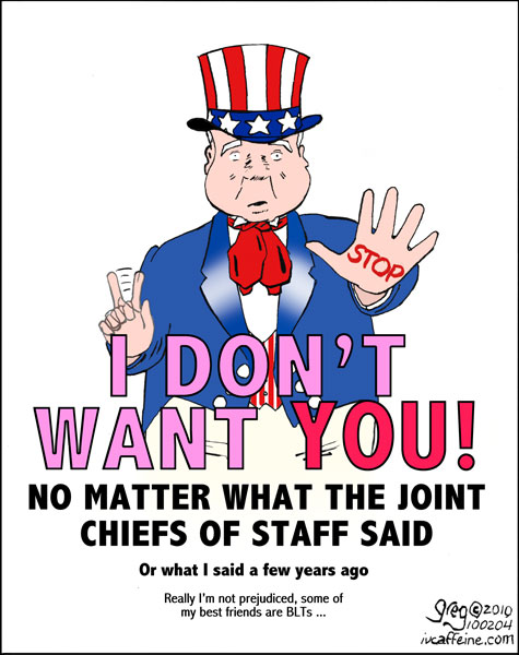 John McCain takes the role of Uncle Sam, defending our troops against the onslaught of gay troops redecorating the barracks.