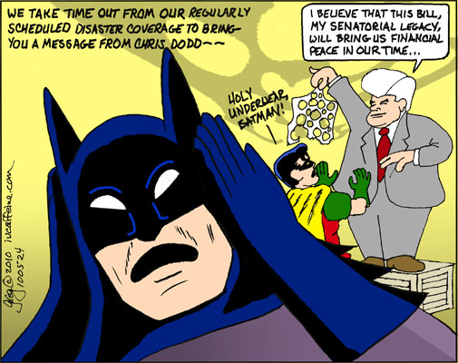 Chris Dodd displays his financial reform package to Batman and Robin, who likens it to Holy Underwear!
