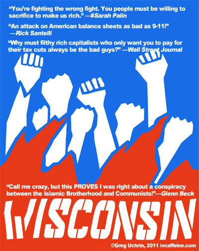 Ironic movie poster for the Wisconsin protests reflecting the movie EXODUS