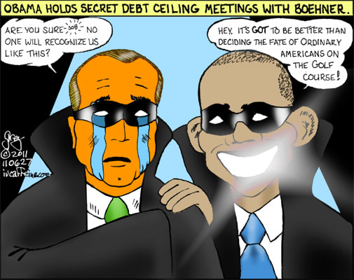 Obama and Boehner hold secret White House meetings on the debt ceiling.
