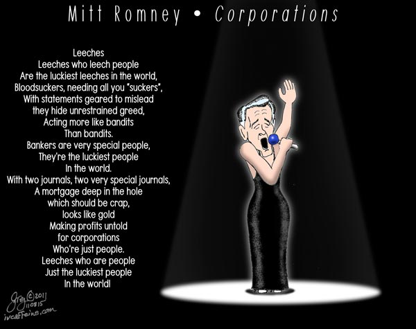 Mitt Romney sings a paean to corporations to the tune of 'People'.