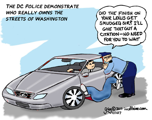 A DC policeman apologizes for the finish being ruined after a man runs over a pedestrian in his Lexus