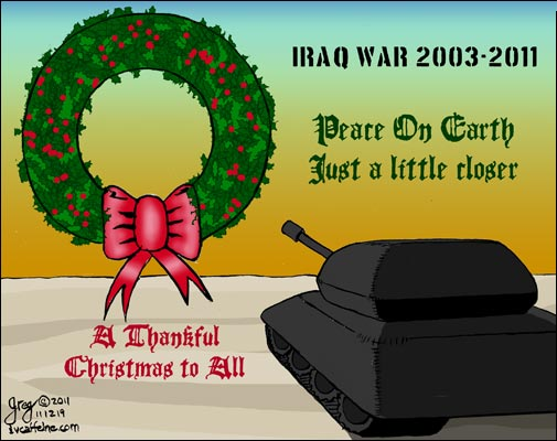 A tank leaves Iraq--a little bit more peace on earth.