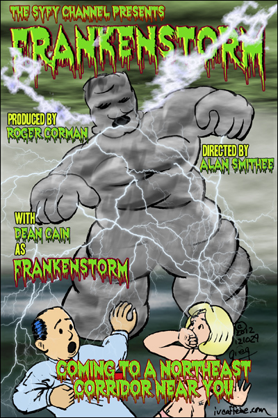 Parody Movie Poster for Frankenstorm, a Roger Corman Production