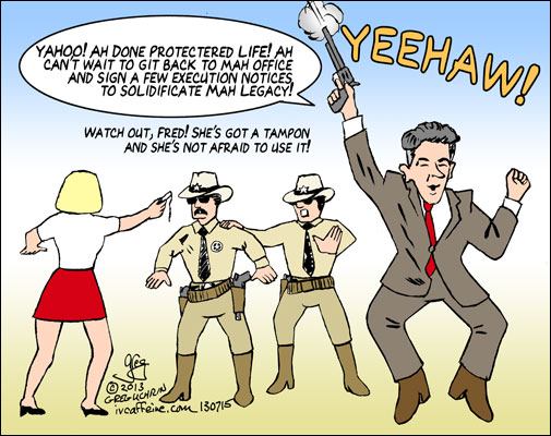 "Yeehaw! Rick Perry protecters ""life"" and celebrates by firing his six-shooter."